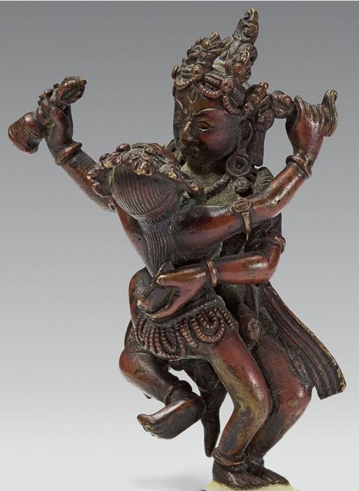 Hevajra with wife - Copper alloy - Tibet - 16th-17th century
