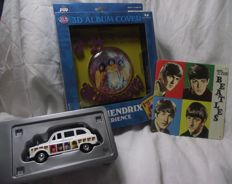 McFarlane. Jimi Hendrix - 3D Album Cover 'Are You Experienced'. Plus Beatles record cover tin plaque and taxi.