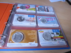 The Netherlands – 5 and 10 Euro coins, BU, 2004/2017 (15 different) in coin cards and album