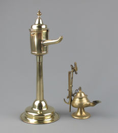 Antique brass oil lamp, circa 1800 and brass oil lamp - 19th century.