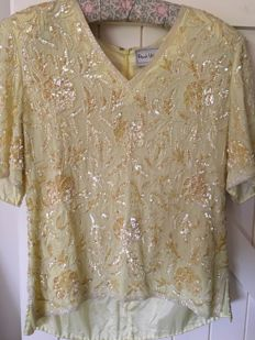 Frank Usher- sequenced crepe silk yellow Blouse