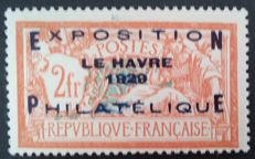 France 1929 – Philatelic exhibition of Le Havre, 2F, +5F, orange and blue-green – Yvert no. 257A.