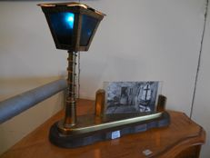 Brass Dresser lamp with picture frame.