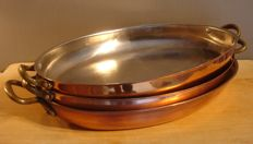 """Set of copper oven dishes of which one is stamped """"Unicorn"""""""