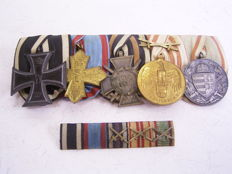 Large order clasp with 5 awards and medals, Germany World War I with corresponding ribbon bar