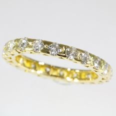 Romantic yellow gold diamond alliance ring - Ring size: EU-54 & 17¼, USA-6¾, UK-N