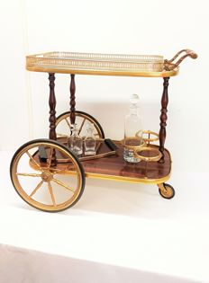 An elegant tea trolley / service trolley with two trays, second half of the 20th century, United Kingdom