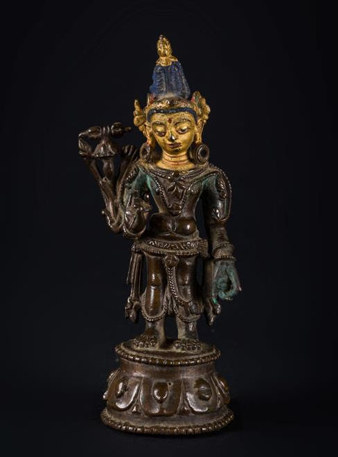 Vajrapāṇi - chrome with polychrome and gold elements - Tibet - 12th century