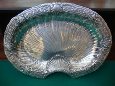 Silver Plated Tray  In the Shape of a Shell, with an inscription dated 1884. Wedding present, presumably from an important person