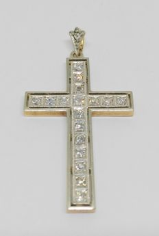 Cross pendant in 18 kt yellow gold with 18 diamonds