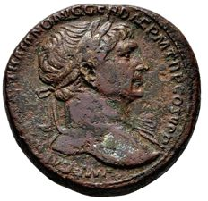 Roman Empire - Trajan (98-117) bronze sestertius (28,15 g. 30-31 mm). Rome mint, A.D. 103-111. SPQR OPTIMO PRINCIPI. Fortuna.