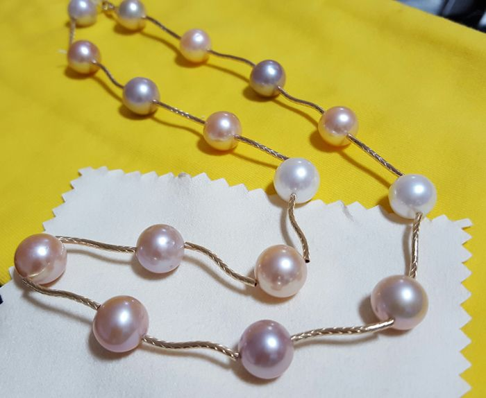 Natural coloured multi-colour cultivated pearl necklace, 11 to 12 mm, 375  gold