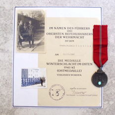 Medal for the Winter Battle in the East (East Medal) with award certificate