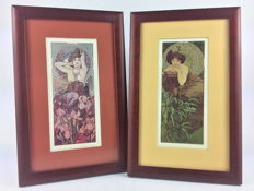 "Two framed sheets, ""Amatista"" and ""Esmeralda"" signed by Alphonse Mucha"