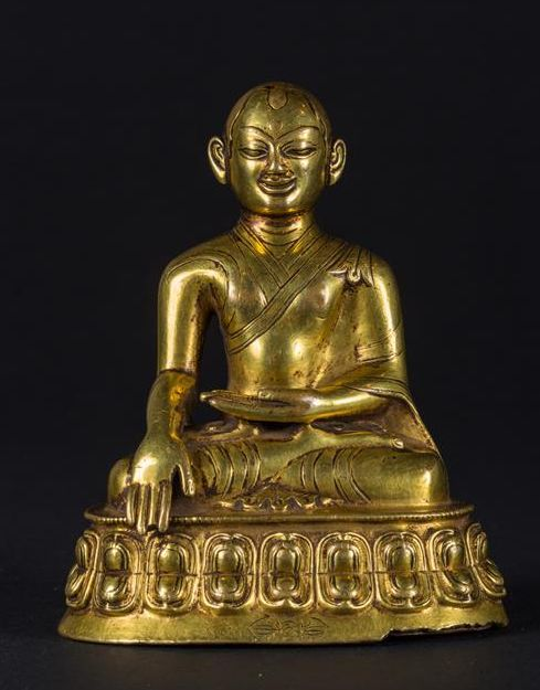 Zhangton Konchok Pel (1250–1317) Kagyu School Master, gold-plated copper -- Tibet -- From the 15th century