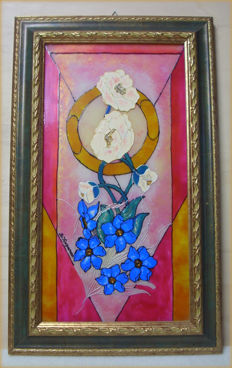 Hand painted painting on glass + frame