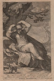 Abraham Bloemaert (1564 - 1651) - Judas Iscarioth - Mannerist engraving by Willem van Swanenburg (1580 - 1612) done in 1611