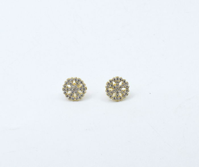 14 carat yellow gold pair of earrings with zircon stone