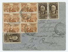 Italian Colonies, 1937 – Ethiopia – letter sent from Mogadishu to Rovigo with multiple franking