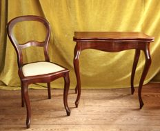 A Willem III mahogany games table and balloon back chair - The Netherlands - circa 1870 and later
