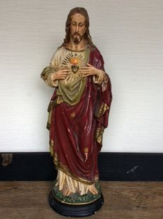 Antique Sacred Heart sculpture.  55 cm tall, early 20th century