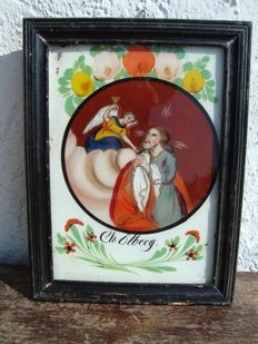 Reverse glass painting - Southern Germany / Oberammergau - 19th century