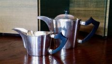 Teapot and milk jug in silver 800/1000 Italy, 1920