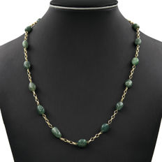 750/1000 (18 kt) yellow gold – Necklace – Emerald – Length: 60 cm
