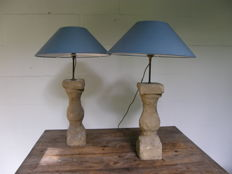 Pair of table lamps, French, sandstone base from approx.1700