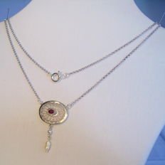 Necklace with natural ruby (0.40 ct) and white freshwater pearl