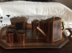 Cairoware 10 piece coffee set.  Hand inlaid - Middle East - ca. 1900-1930