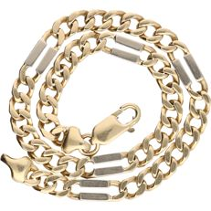 14 kt – Bi-colour, yellow/white gold Figaro link bracelet – Length: 21 cm