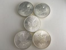 Canada - 5 Dollars 2014 'Maple Leaf' (lot of 5 coins) - 5 x 1oz Silver