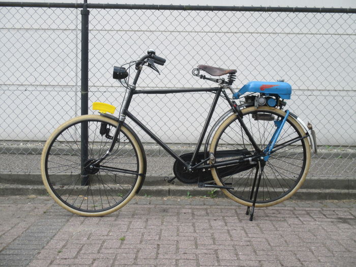 Bicycle with Trojan Mini motor auxiliary engine - ca. 1950