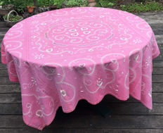 Hand made pink embroidered tablecloth from the early 20th century