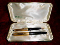 Günther Wagner Pelikan 500 gold double L in cassette with mechanical pencil from 1953. Heavy gold plated and 14 k pen.