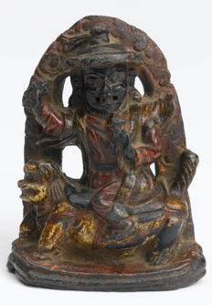 Gyalpo Pehar polychrome stone height -  Tibet - 17th century