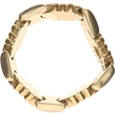 14 kt – Bi-colour, yellow/white gold, tooled, flexible ring – Ring size: 17.5 mm