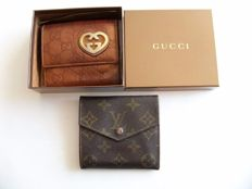 Lot of 2: Gucci bi-sided bi-fold wallet and Louis Vuitton bi-sided tri-fold wallet -*No Reserve Price!*