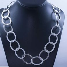 Necklace in 925/1000 silver with Italian grecca design – Length: 62 cm