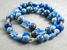 Princess Blue Alomite necklace with Kyanite and Sapphires, length 45 cm, 18 kt gold clasp