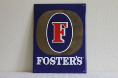 Original enamel advertising sign for the beer brand Foster's from Australia.