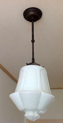 Art Deco style lamp, opaline shade-first half of 20th century