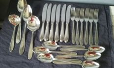 WMF - 22-part point-filet cutlery section with pearl rim