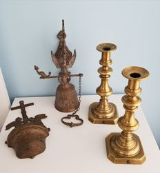 Lot of copper/brass monastery bell, candle holders and holy water bowl