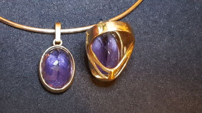 Set consisting of chain and ring with amethyst, vintage from the '70s
