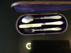 Silver travel case with engravings and mother of pearl handle, Birmingham, Hilliard & Thomason, 1865