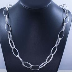 Necklace in 925/1000 silver with Italian grecca design – Length: 60 cm