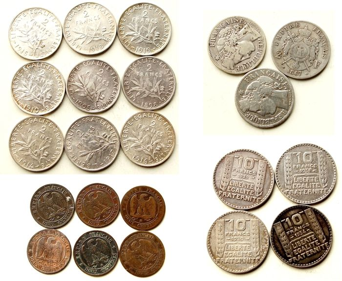 France – lot of 22 coins 1856-1938 – bronze and silver