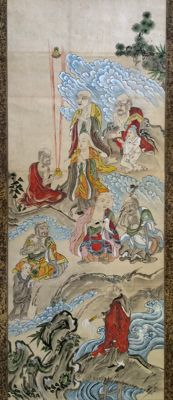 Remarkable handpainted Buddhist scroll painting - Japan - ca. 1920
